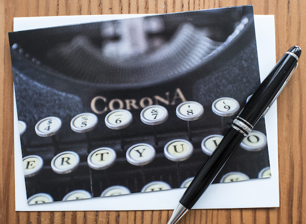 Corona Model Four typewriter notecard
