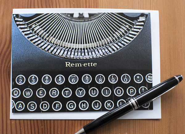 Remington Remette typewriter notecard